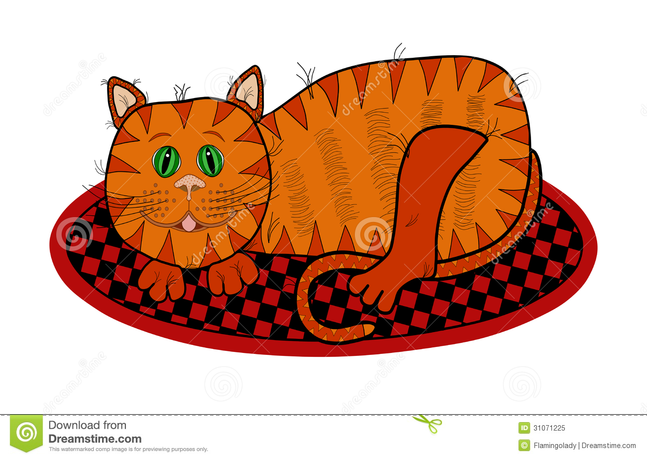 Cat Lying On A Rug Royalty Free Stock Photo Image 31071225