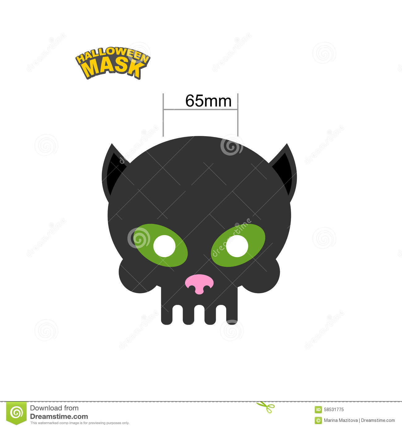 Cat Mask. Skull For Halloween. Honey Mask For Holiday. Vector Il ...
