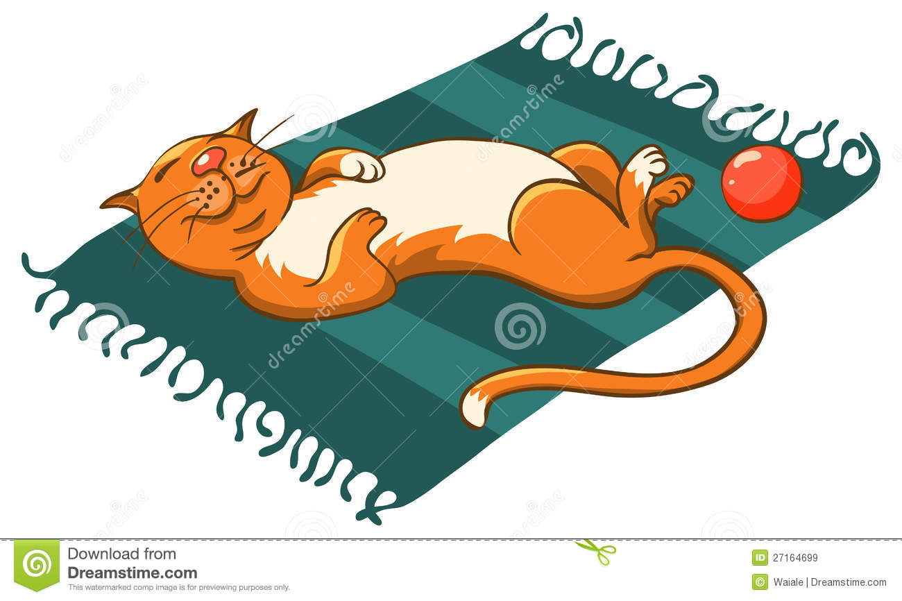 Cat On A Mat Stock Vector Illustration Of Orange Feline