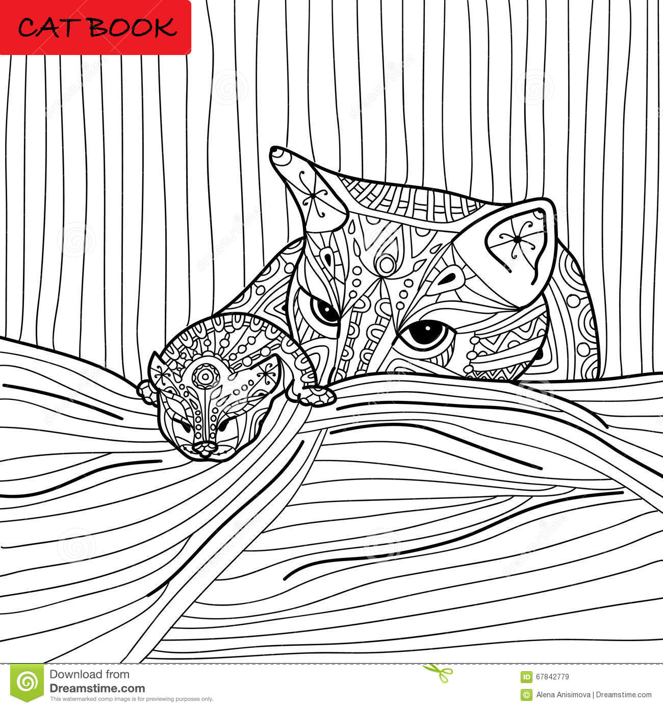 cat mother and her kitten coloring book for adults zentangle