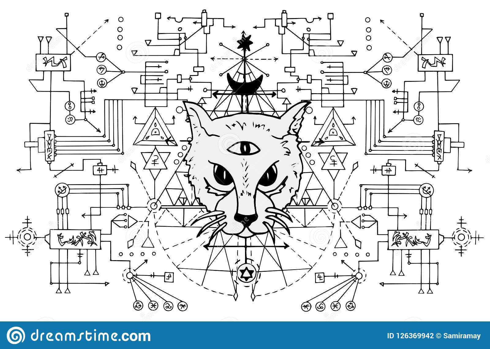 download cat muzzle with mystic signs against black and white sacred geometry stock vector illustration