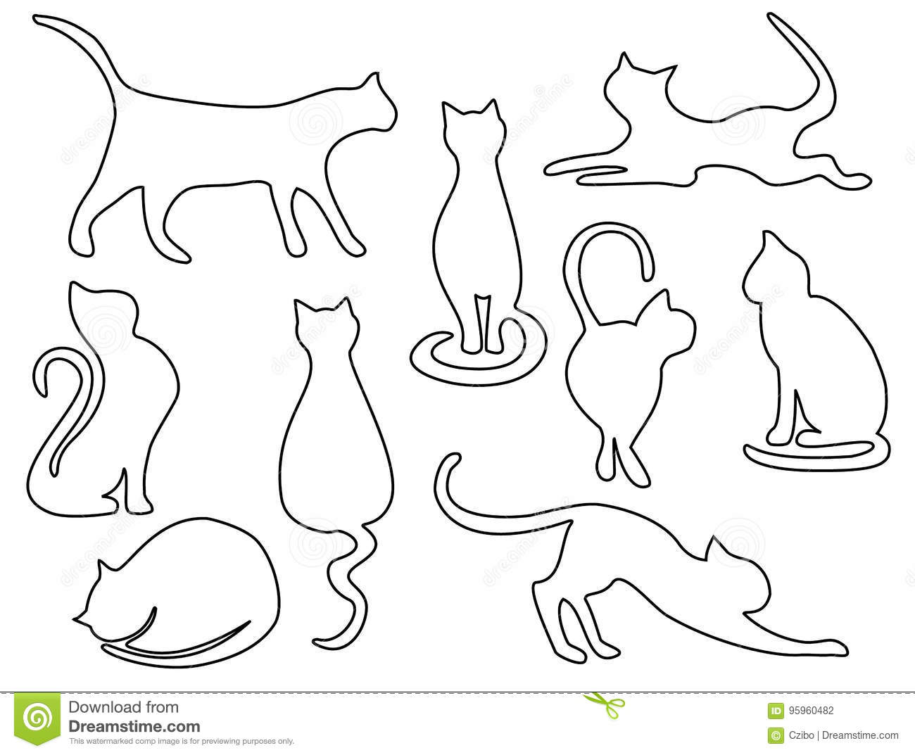 Cat Contour Line Drawing : Cat one line drawing stock vector illustration of design