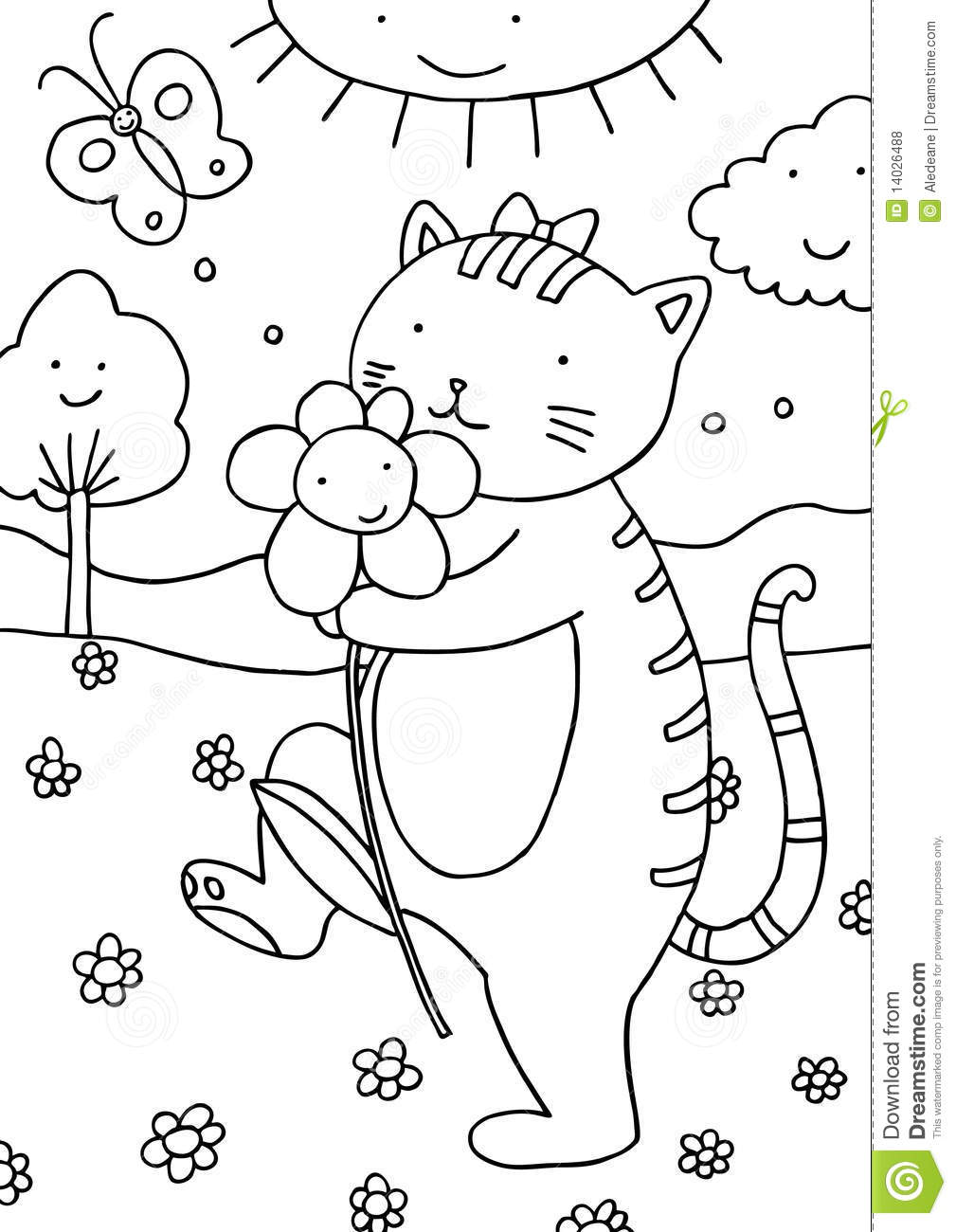 cat outdoors coloring page royalty free stock photos image 14026488
