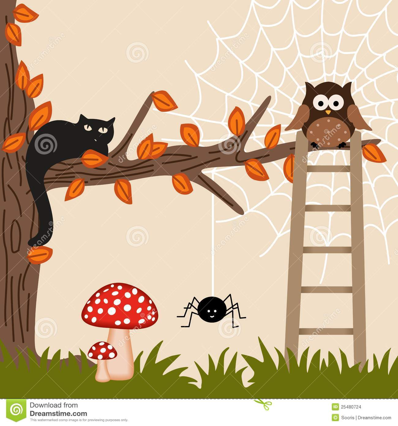 Cat and Owl on Tree