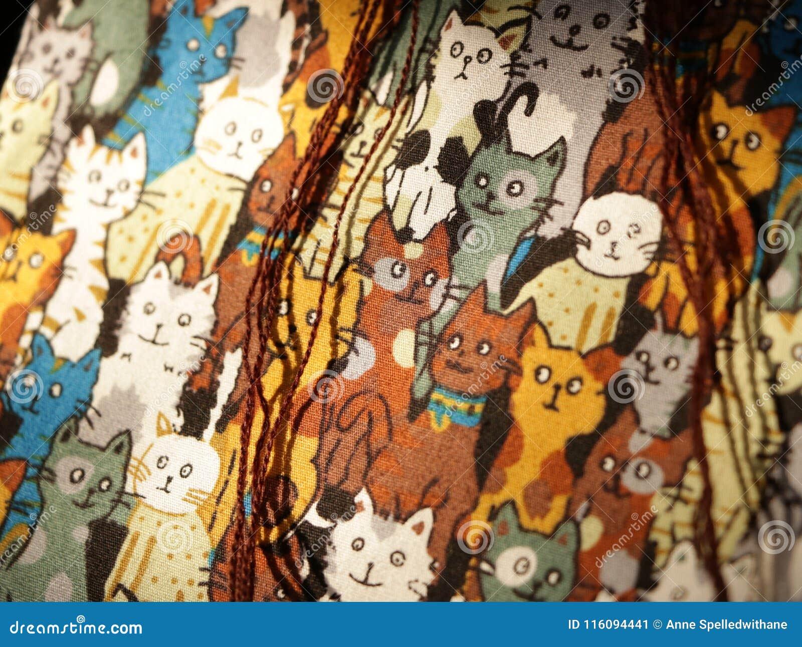 Cat Pattern - Echte Stoffentextuur