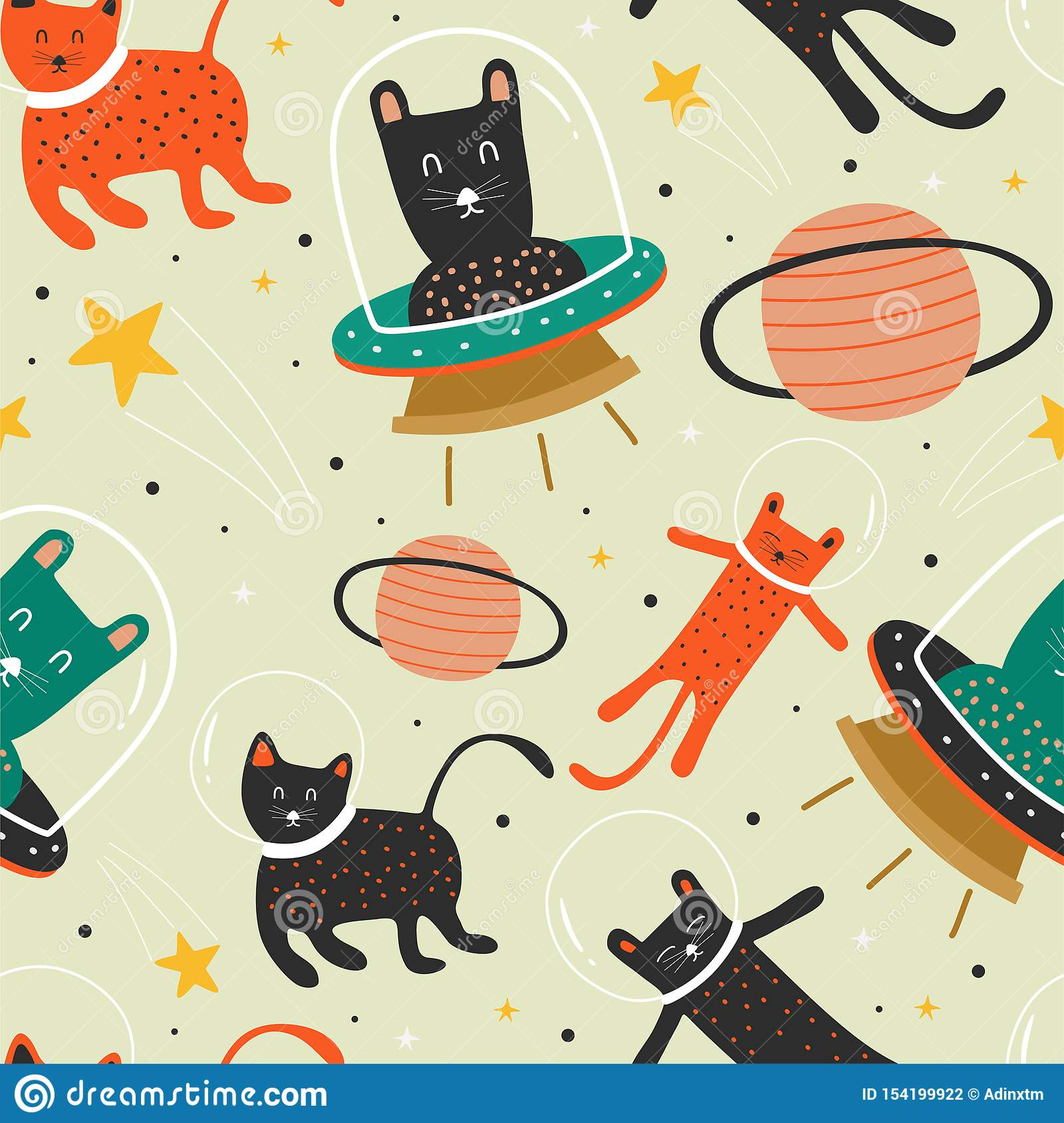 cat pattern with ufo. astronaut and planet background decoration for baby and kids fashion textile print