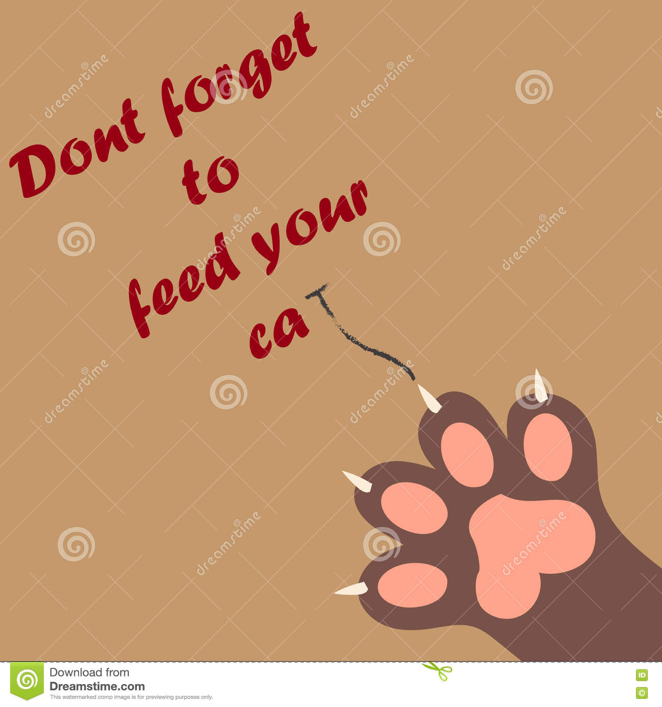 Cat paw print with claws stock vector  Illustration of
