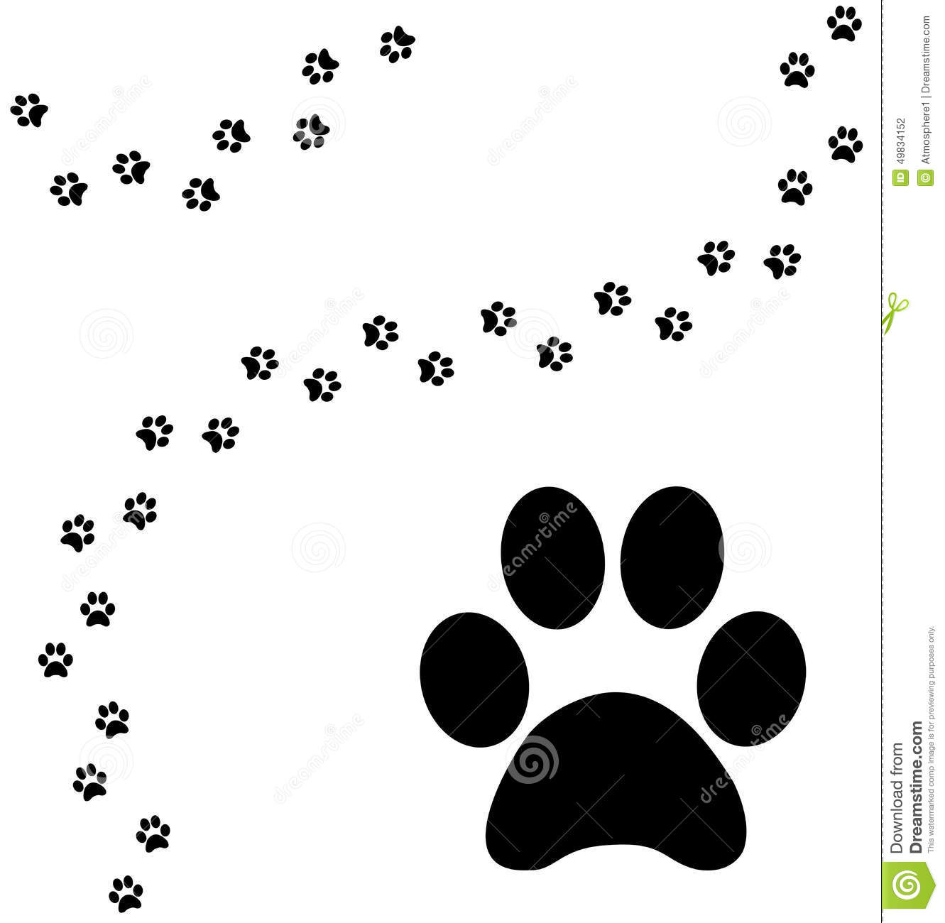 Cat Paw Print Curved Path Stock Illustration - Image: 49834152