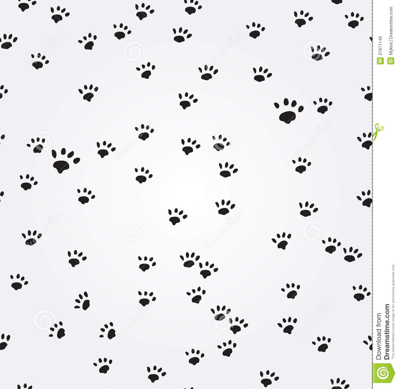Cat Paw Prints Vector Seamless Background Stock Vector