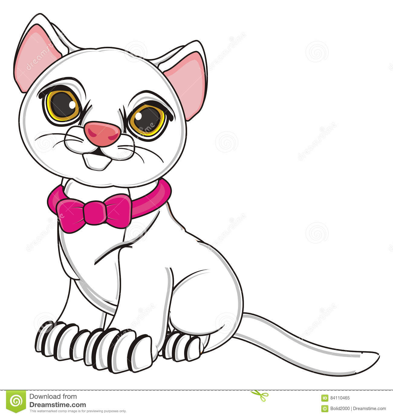 White cat with pink collar with bow sit