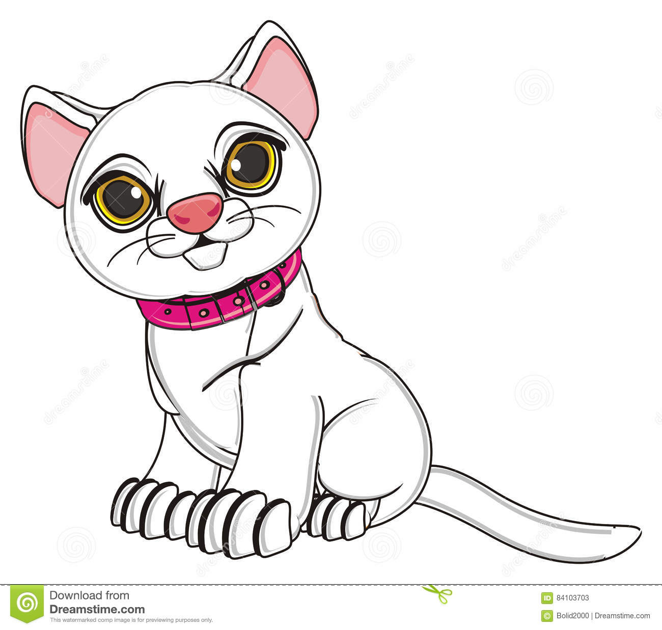 Cartoon Cat White With Pinkcollar