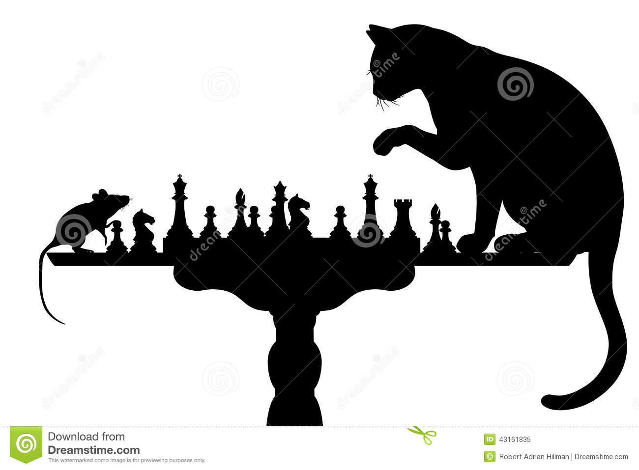 Editable vector silhouettes of a cat and mouse playing chess with all ...
