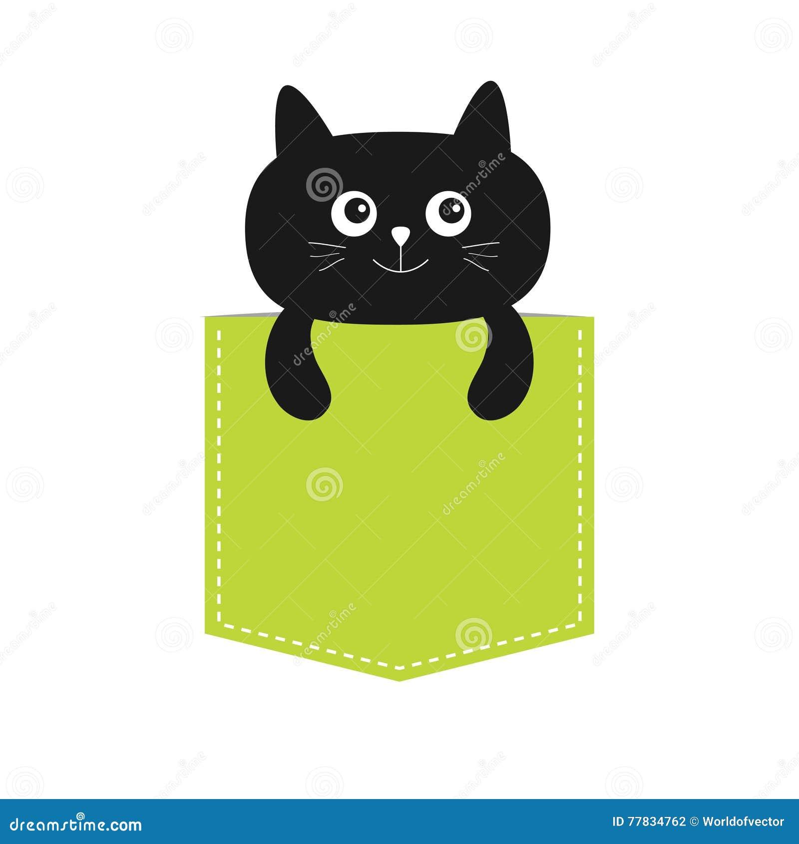 Shirt design black - T Shirt Design Cat In The Pocket Cute Cartoon Character Black Kitten Kitty Dash Line