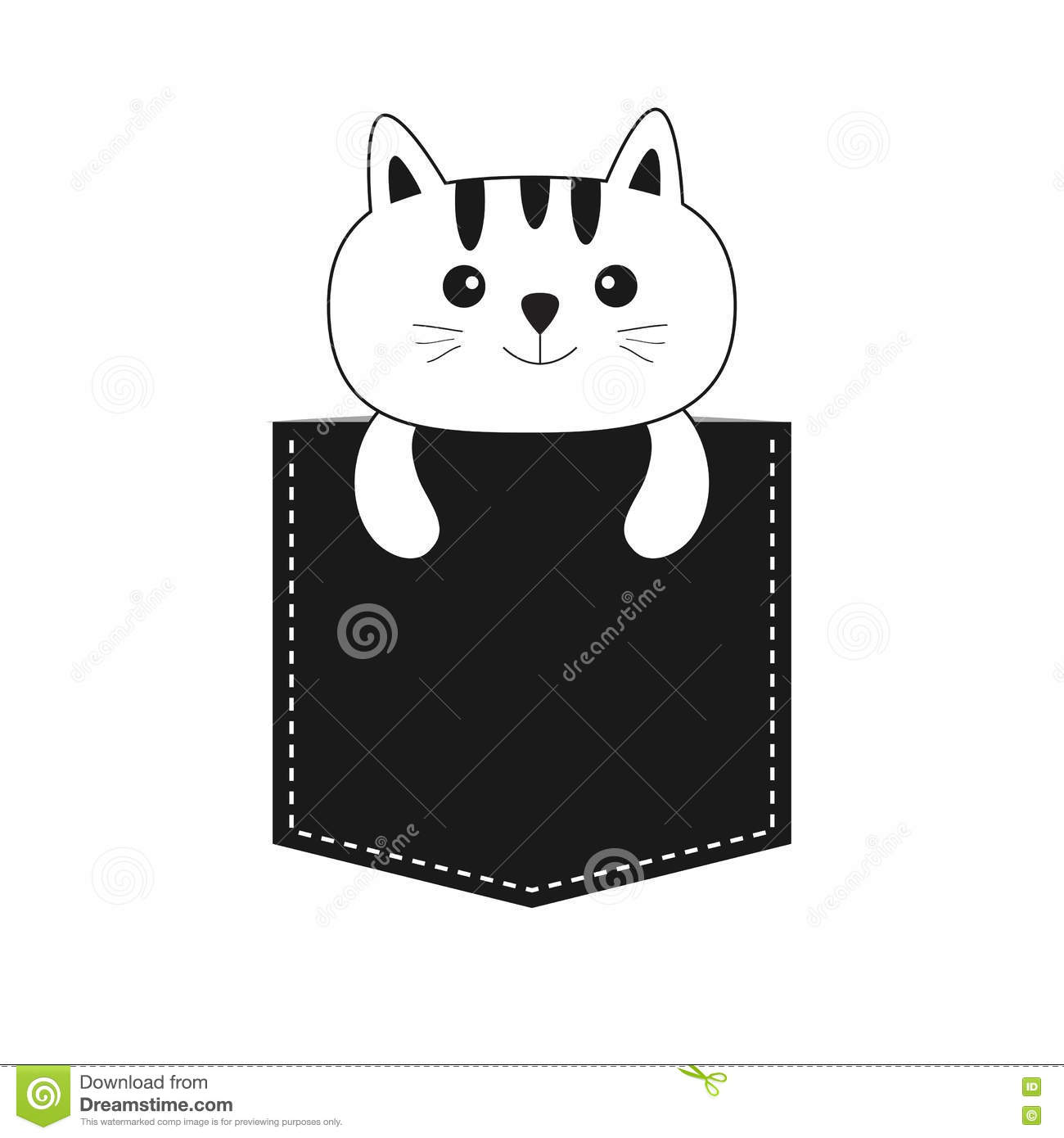 Cat Contour Line Drawing : Cat in the pocket cute cartoon kitten contour kitty
