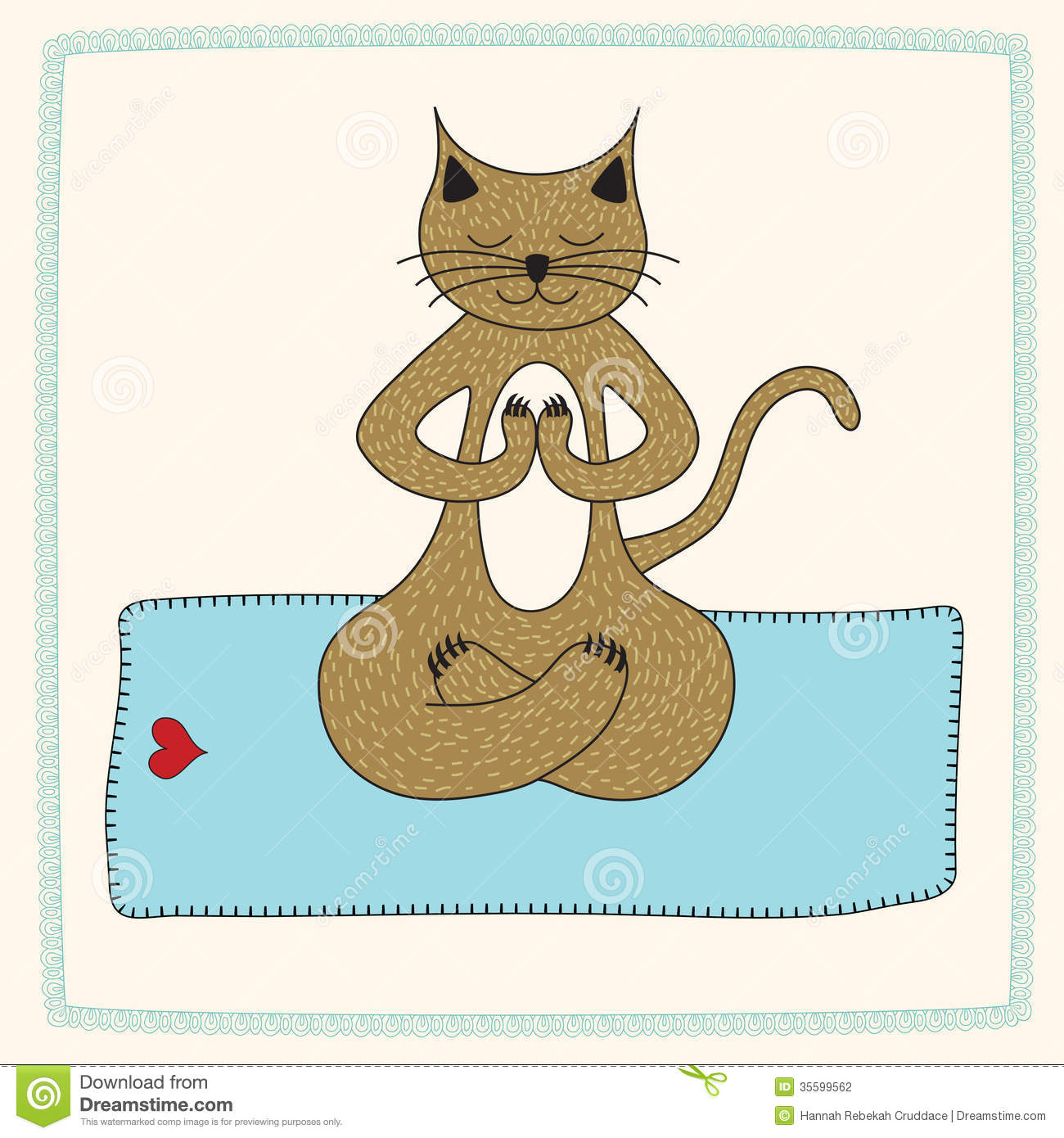Cat Practicing Yoga In The Lotus Position Stock Vector
