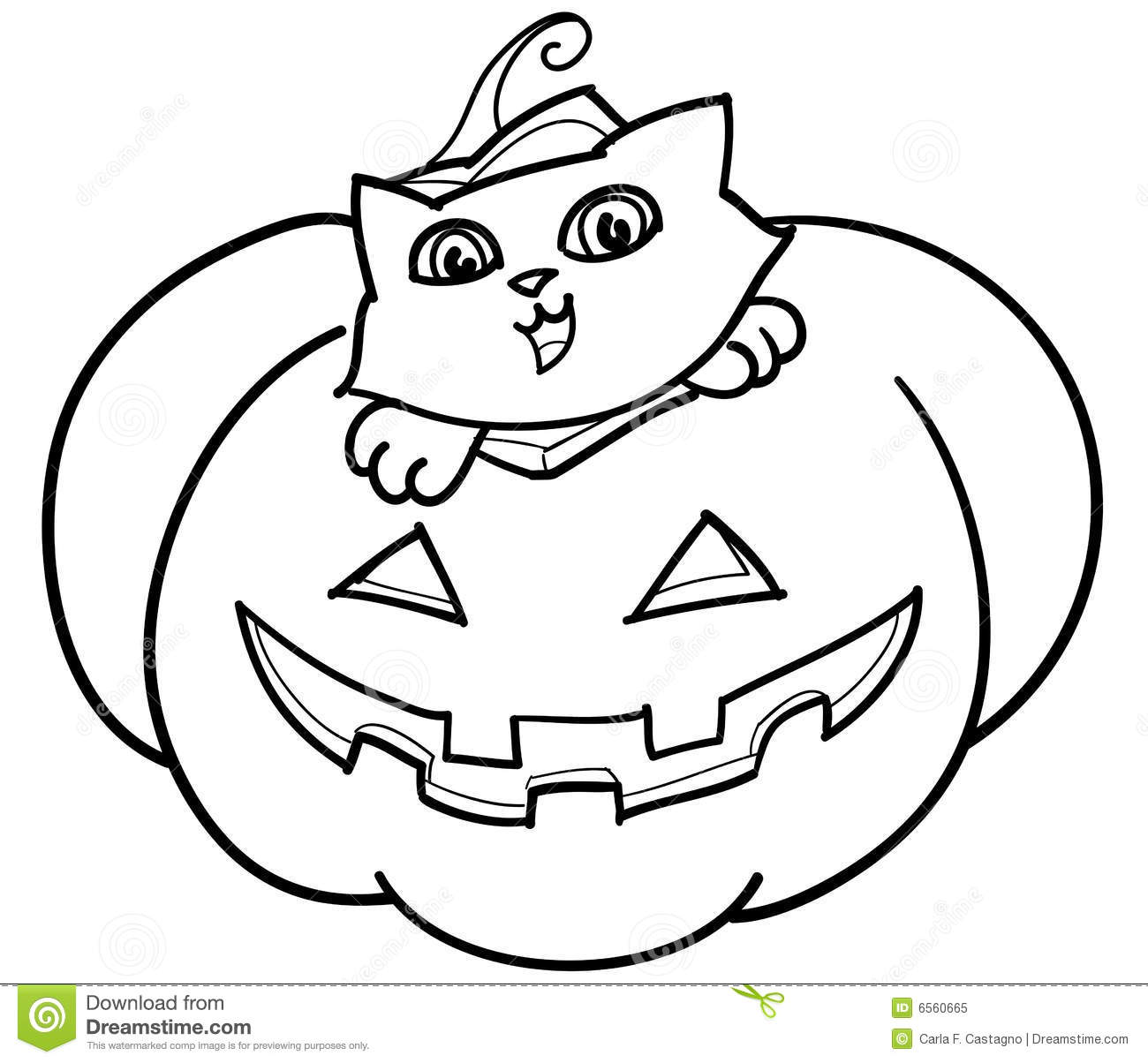 cat in jack o u0026 39  lantern vector royalty free stock photo