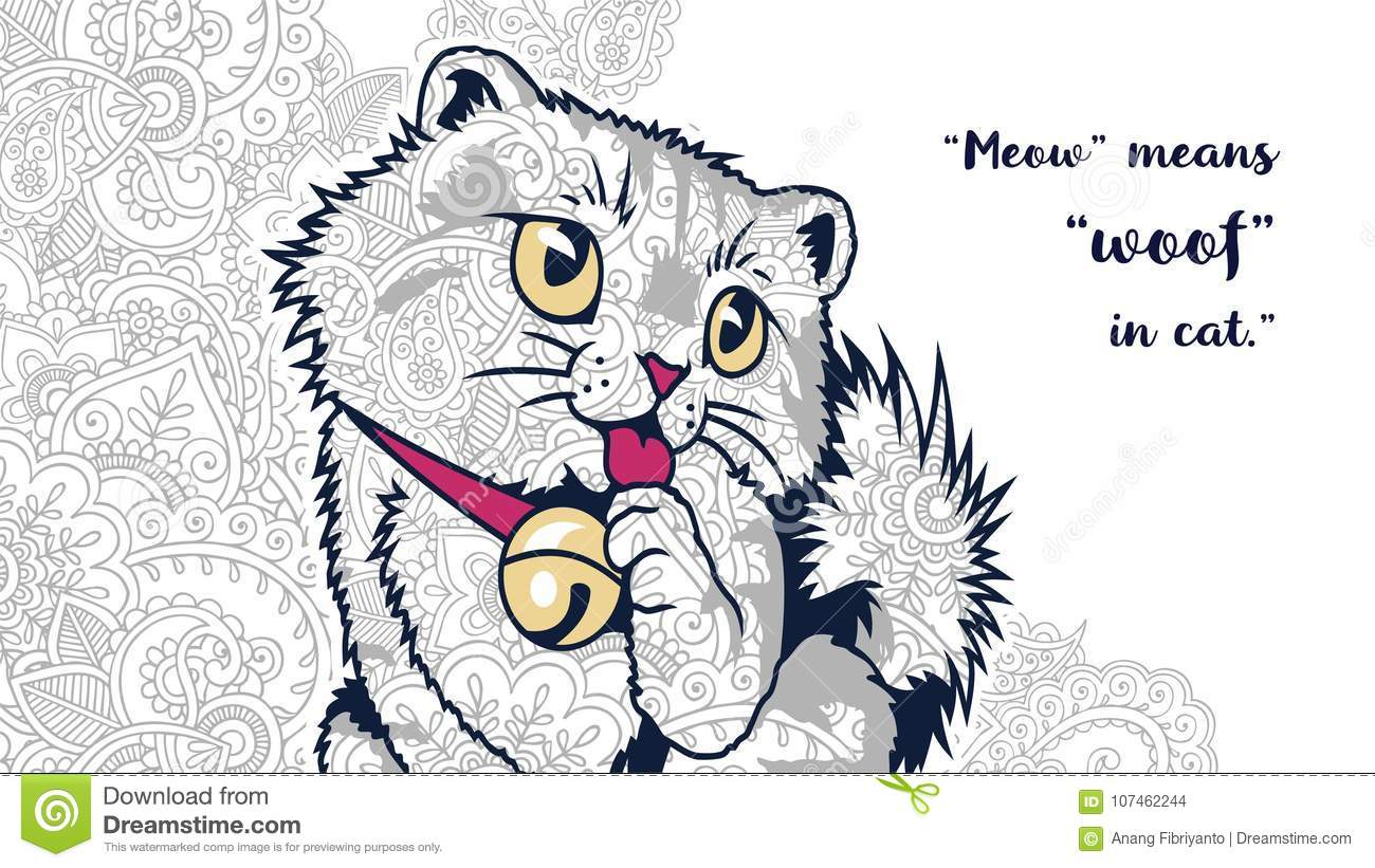 Cat with quotes in floral background doodle for adult stress release coloring page