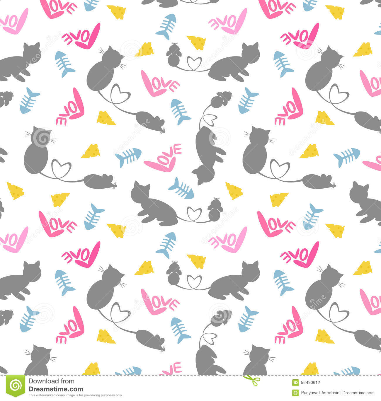 Vector Love cartoon Wallpaper : cat&Rat seamless pattern stock vector. Illustration of silhouette - 56490612