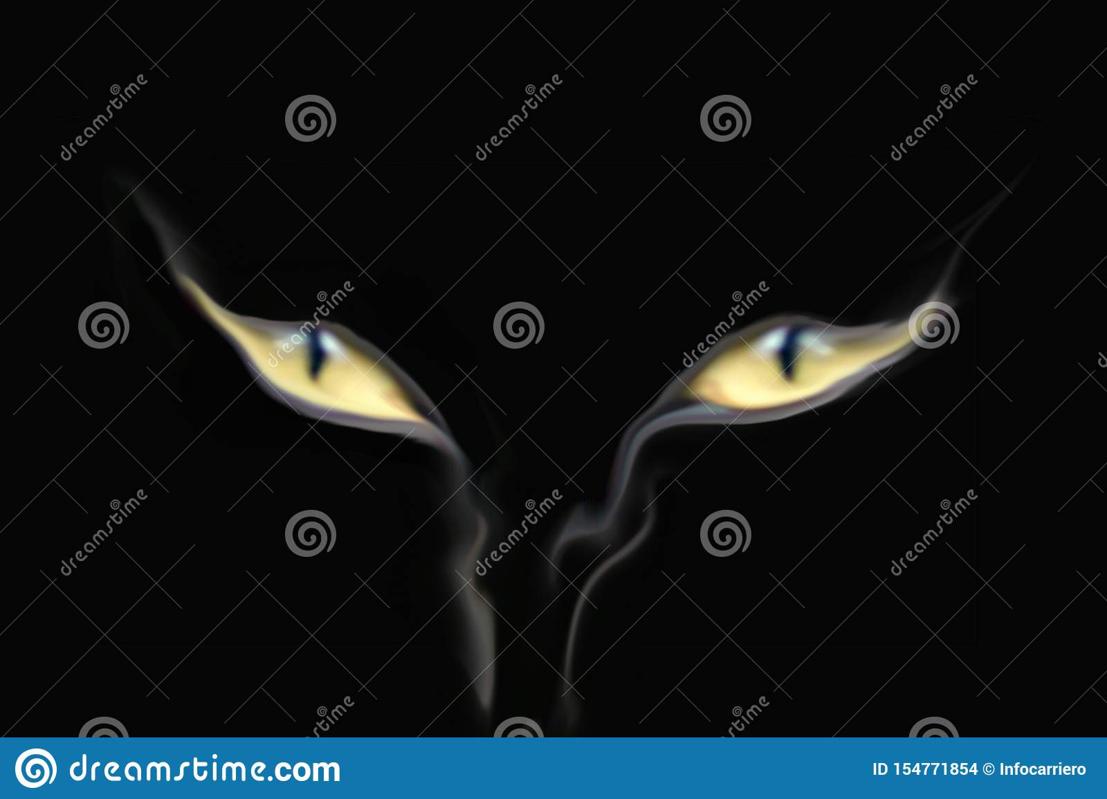 Cat`s eyes appeared from the smoke that from the bottom goes up. logo.