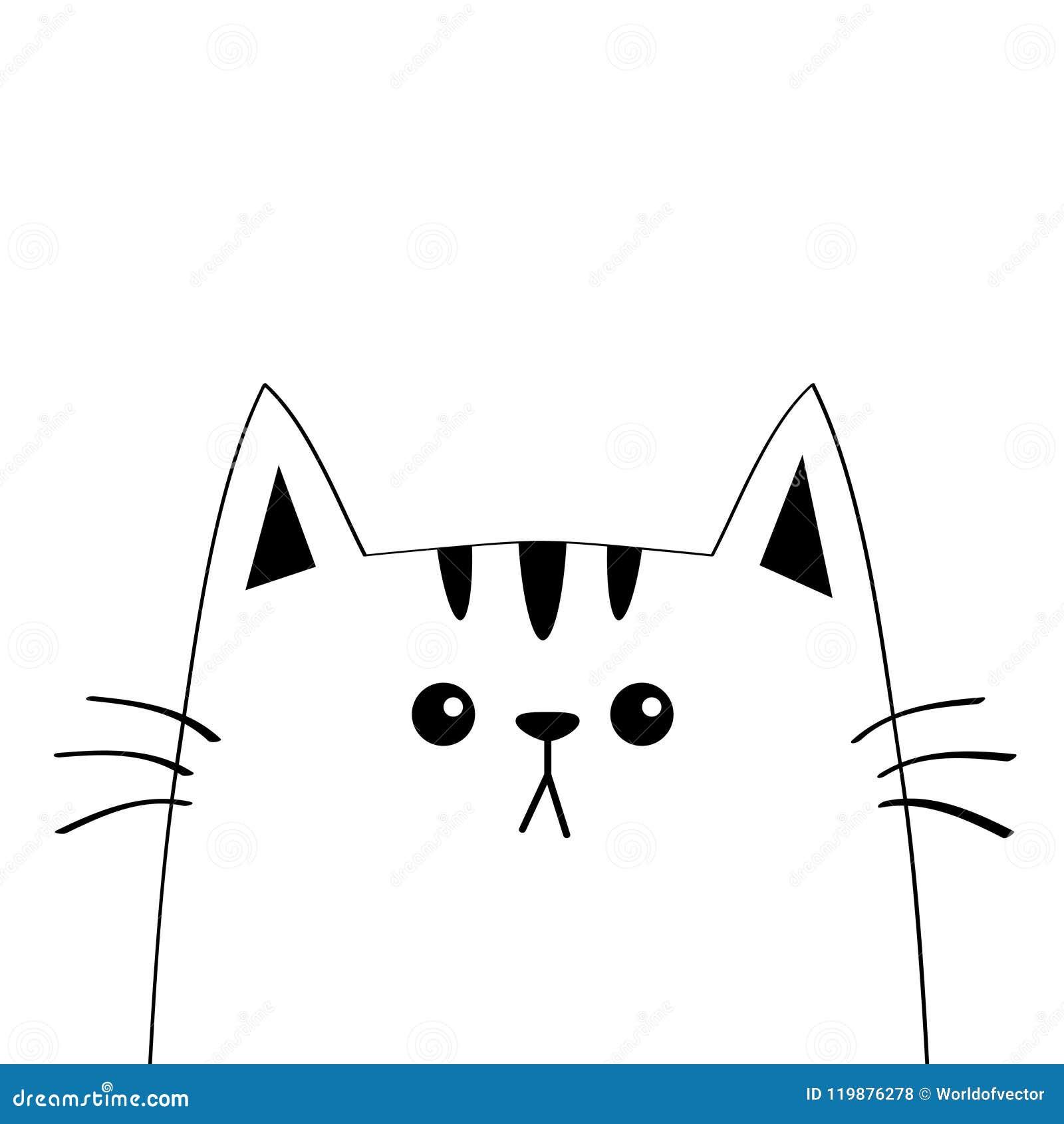 Cat Sad Head Face Silhouette Contour Line Cute Cartoon Kitty
