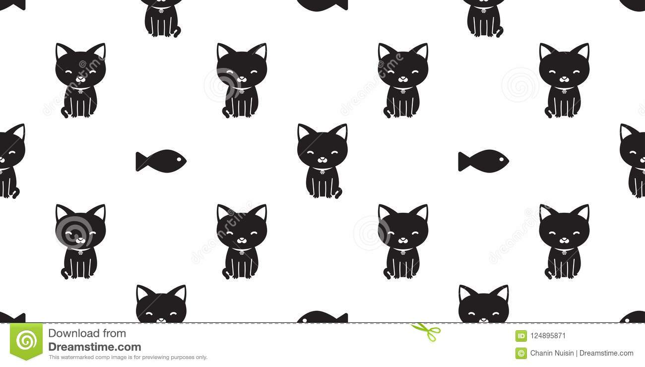 Cat Seamless Pattern Black Cat Fish Isolated Wallpaper Background