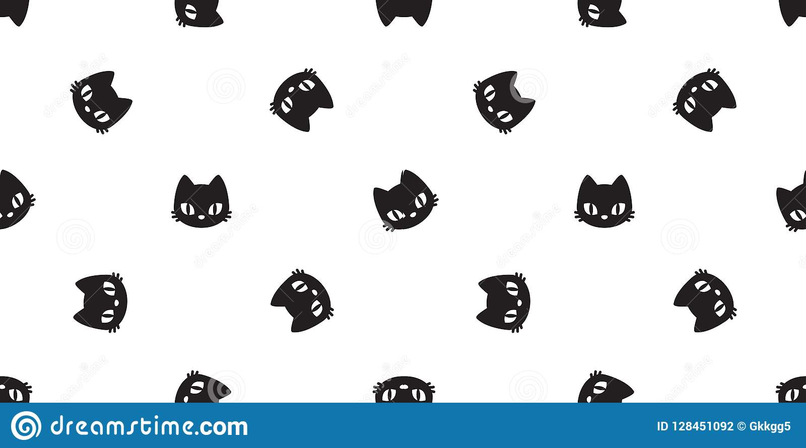 Cat Seamless Pattern Calico Halloween Kitten Tile Background Scarf Isolated Wallpaper