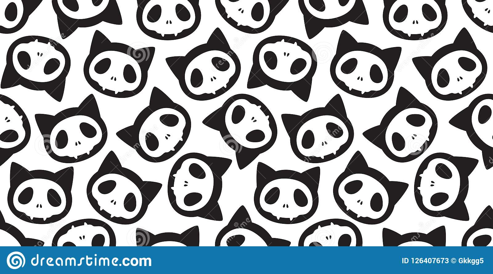 Cat seamless pattern Halloween Skull skeleton bone Ghost scarf isolated cartoon repeat wallpaper tile background