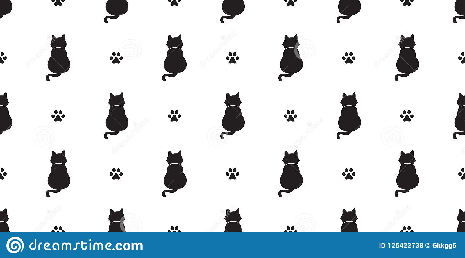 Cat Seamless Pattern Kitten Cat Paw Scarf Isolated Tail Doodle