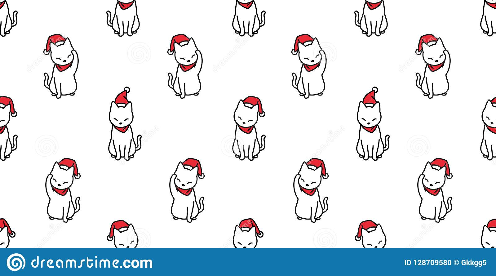 Cat Seamless Pattern Vector Christmas Santa Claus Hat Xmas Kitten