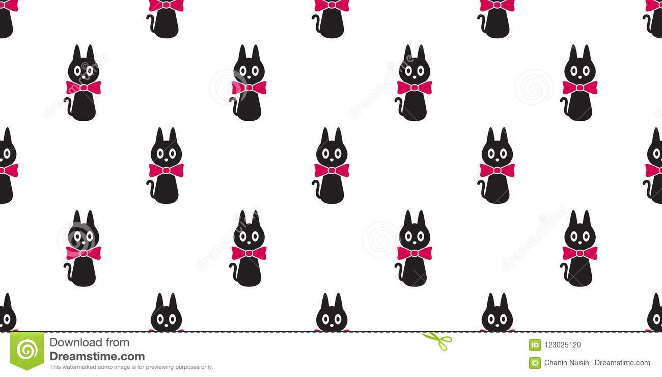 Cat Seamless Pattern Vector Kitten Bow Tie Icon Isolated Wallpaper Background