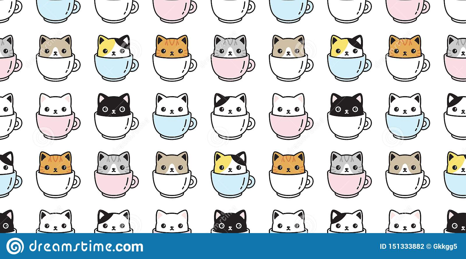 Cat Seamless Pattern Vector Kitten Coffee Cup Calico Breed Scarf