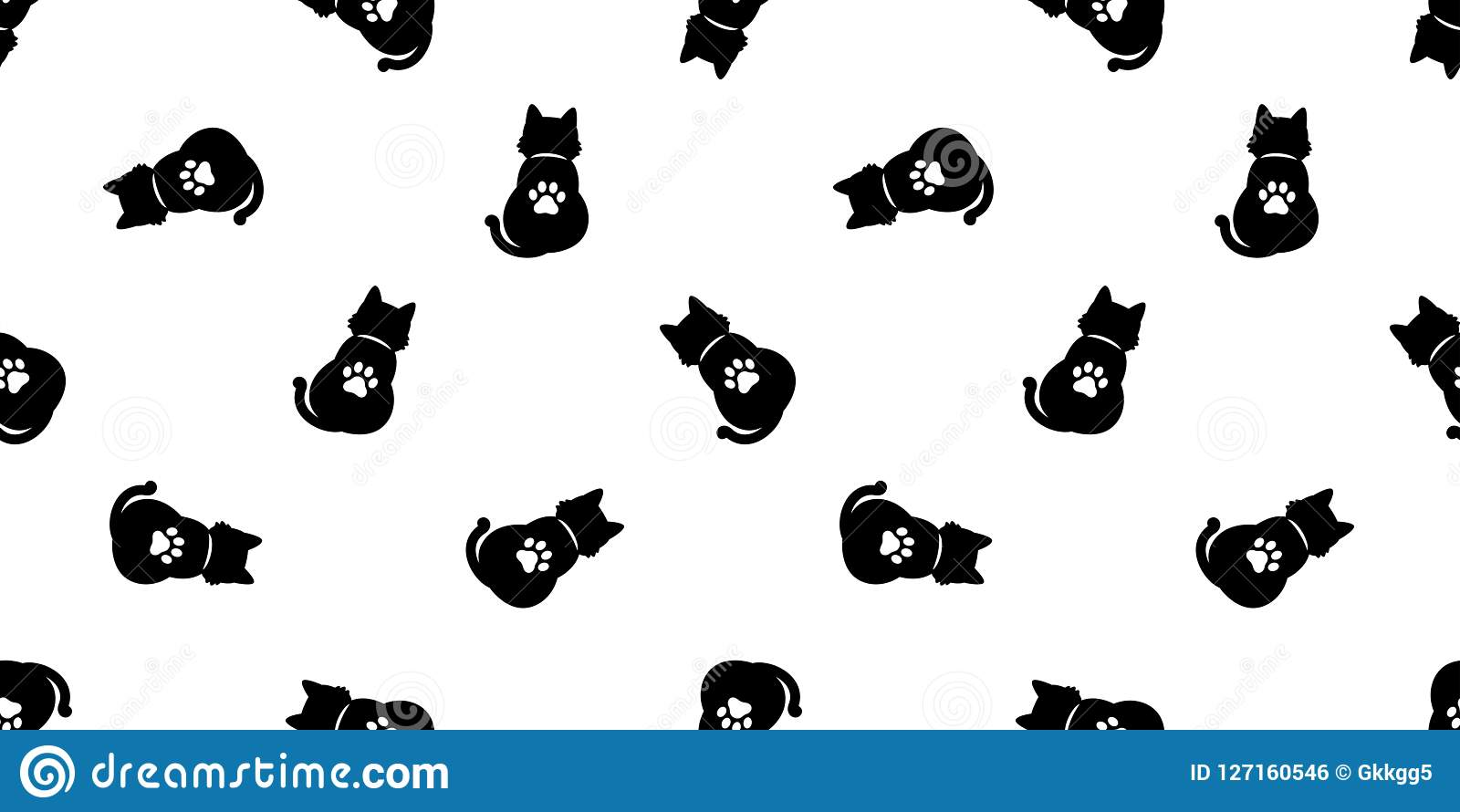 Cat Seamless Pattern Vector Paw Halloween Kitten Calico Cartoon Scarf Isolated Tile Background Repeat Wallpaper Stock Vector Illustration Of Calico Background 127160546
