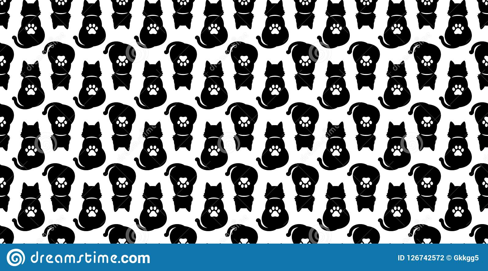 Cat Seamless Pattern Vector Paw Halloween Kitten Calico Cartoon Il Ration Tile Background Repeat Wallpaper Scarf Isolated