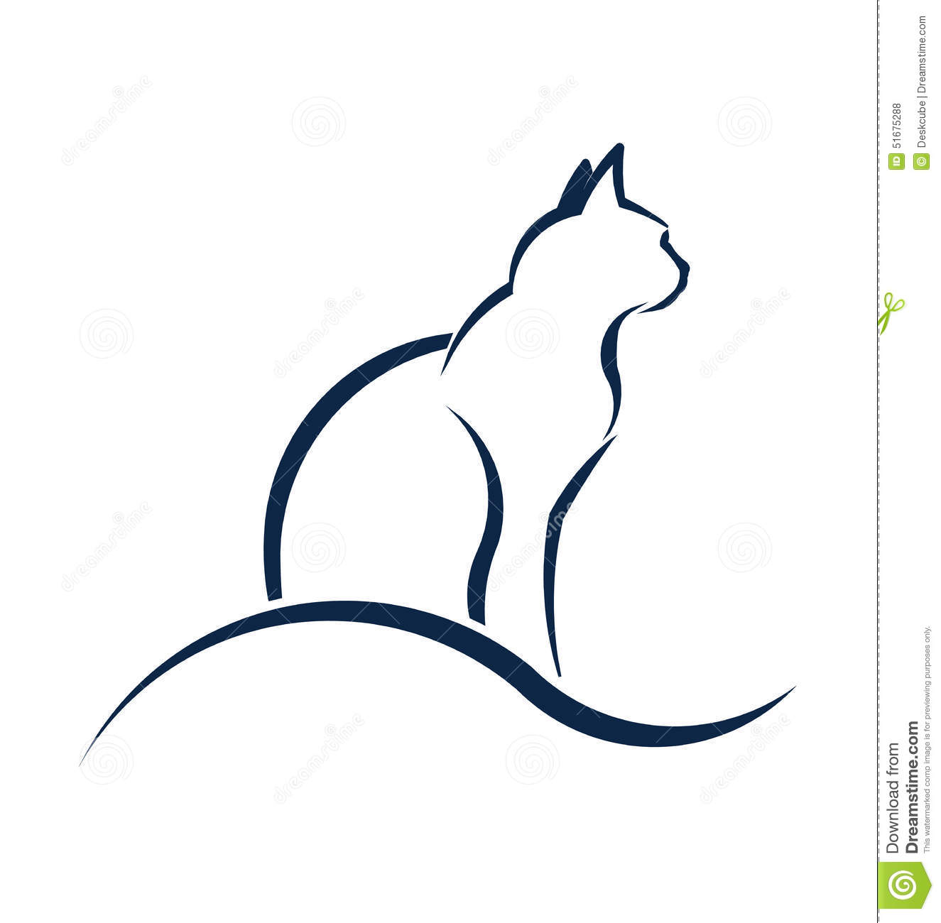 Cat Silhouette Logo With Wave. Stock Vector - Image: 51675288