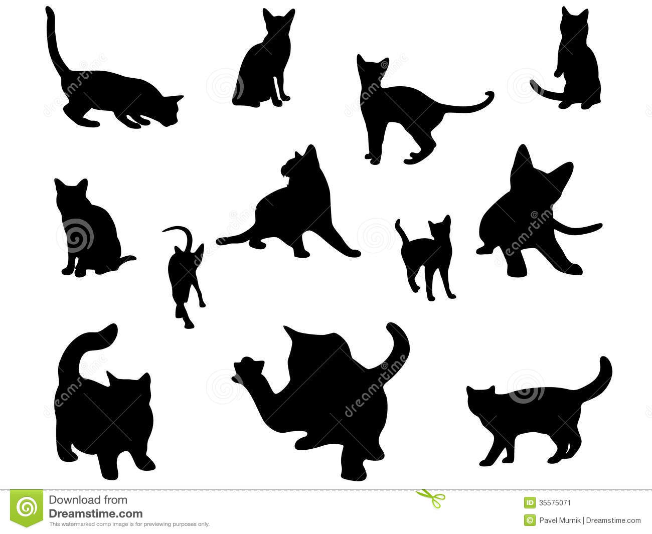 Cat silhouettes set. stock vector. Image of outlines