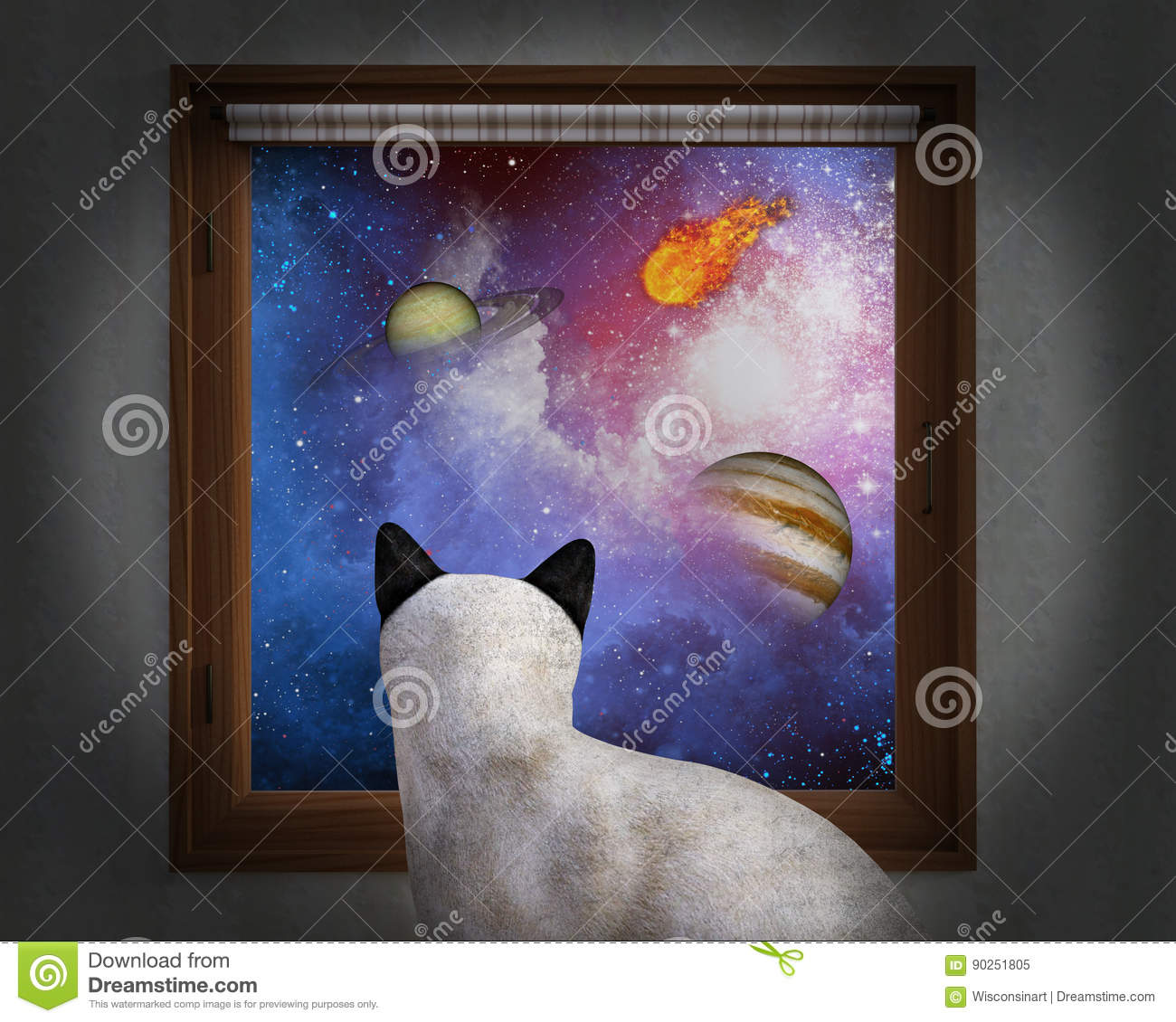 Cat Sit Window, estrellas, planetas