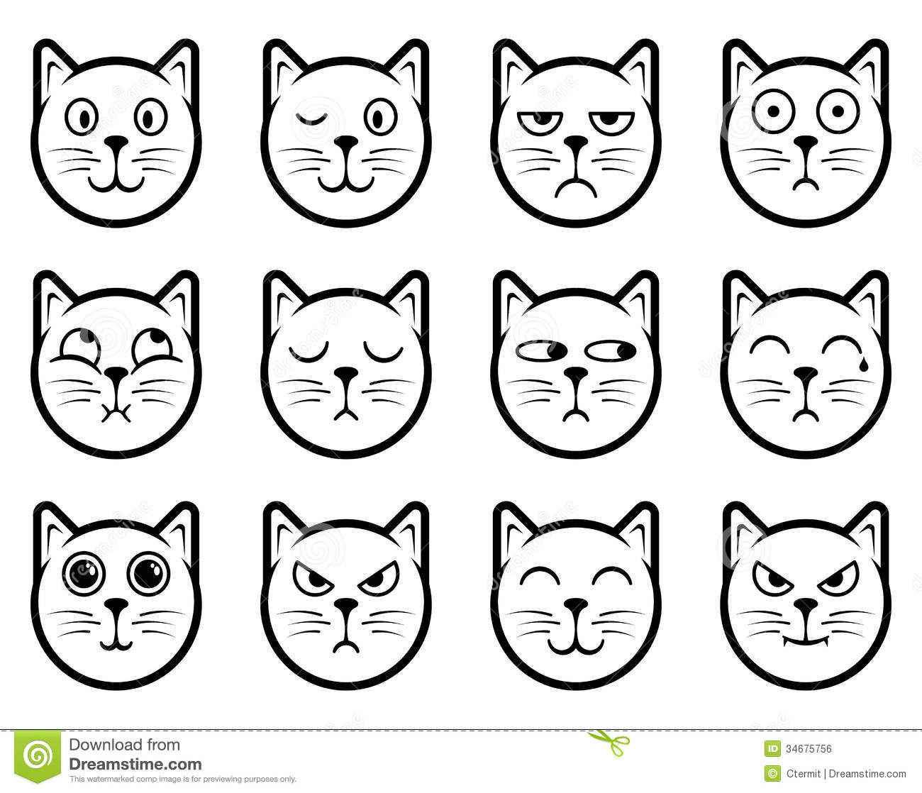 Cat Smiley Icons Stock Vector Illustration Of Emoticon 34675756