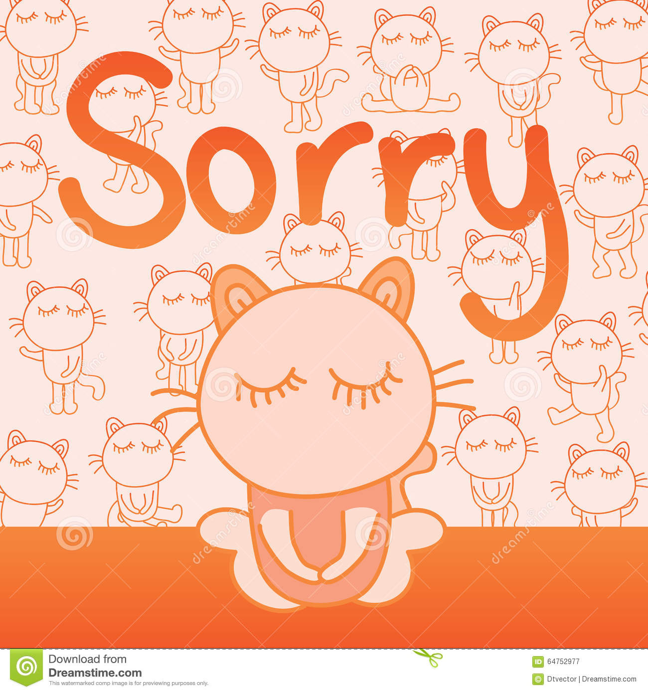 Cat Sorry Card Stock Vector Illustration Of Apology 64752977
