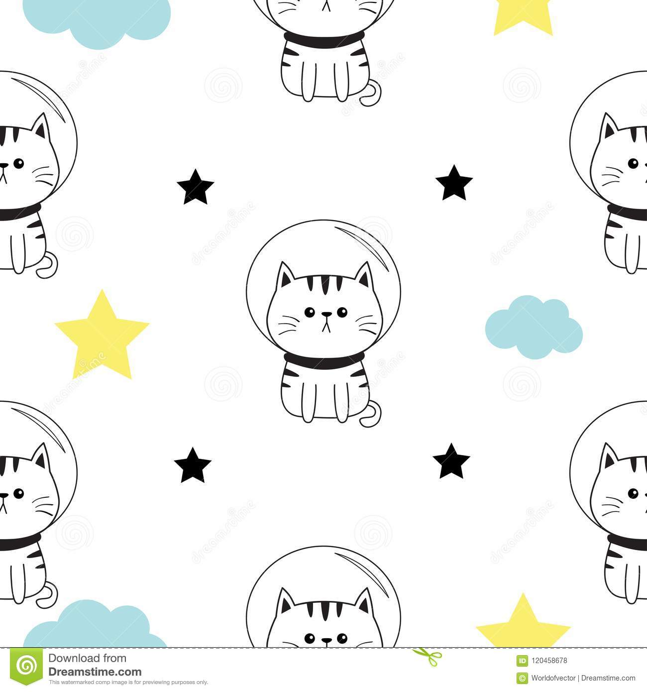 Cat Spaceman Head Hands Cloud Star Shape Cute Cartoon Kawaii