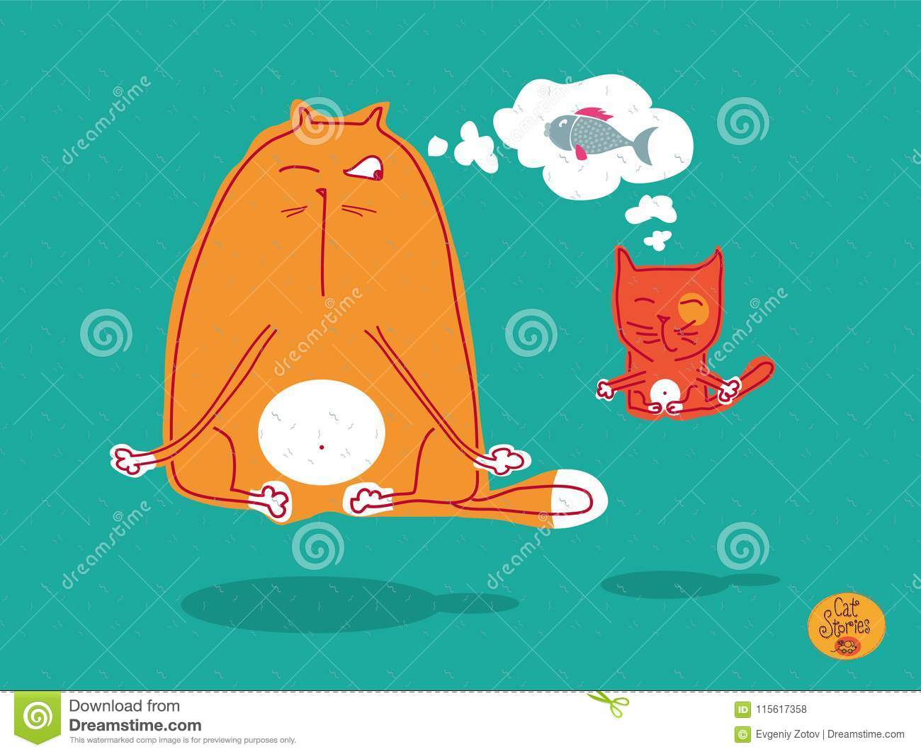 Red Cat And Kitten Doing Meditation And Yoga, Levitation And