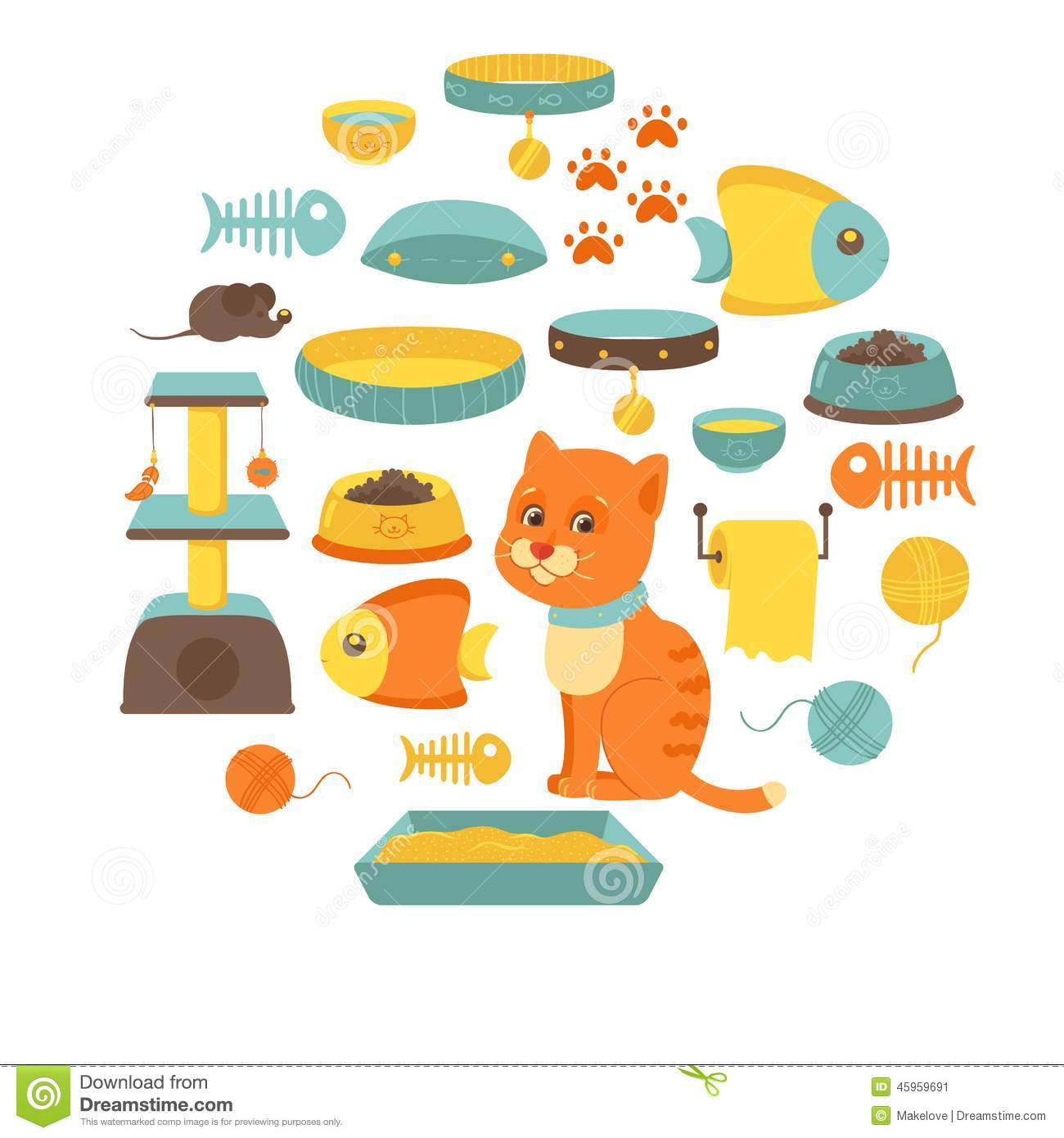 Toy Food Clip Art : Cat stuff collection toys food stock vector