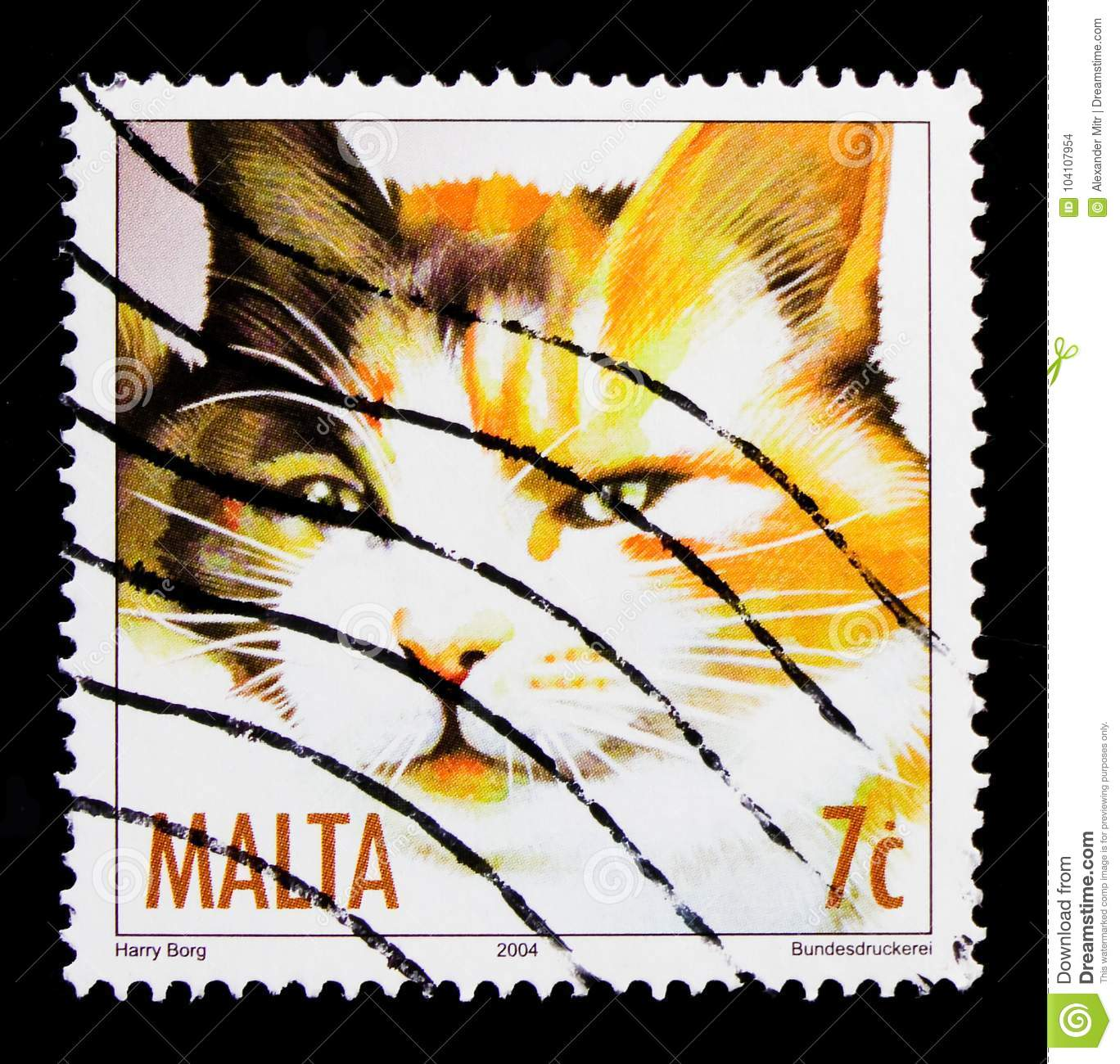 MOSCOW, RUSSIA - OCTOBER 3, 2017: A stamp printed in Malta shows cat Tortoiseshell (Felis silvestris catus), Cats serie, circa