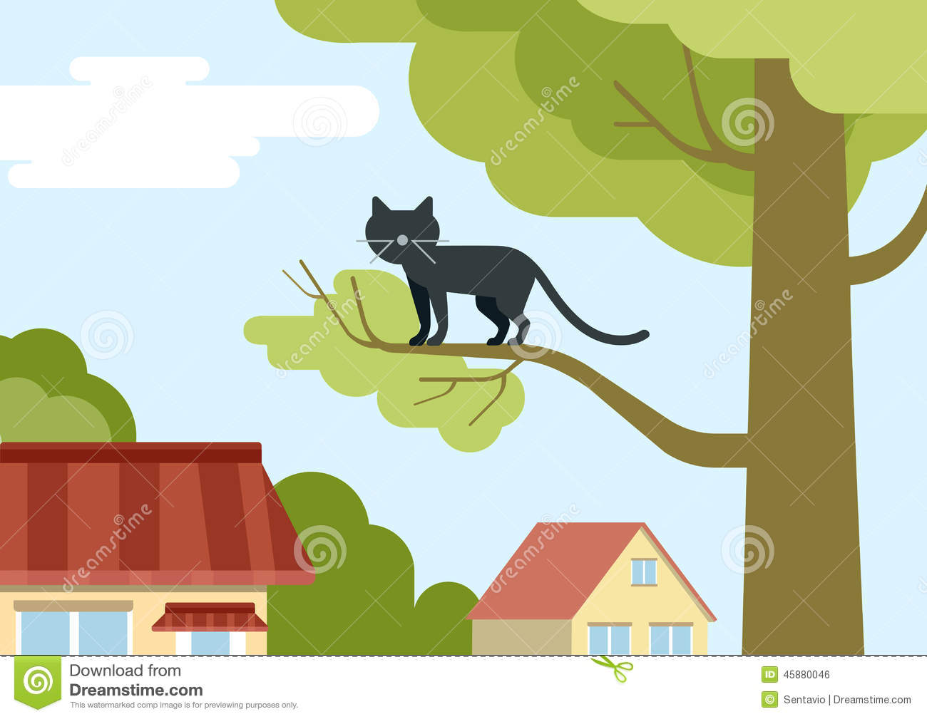 Cat On Tree Branch On The Street Flat Design Cartoon