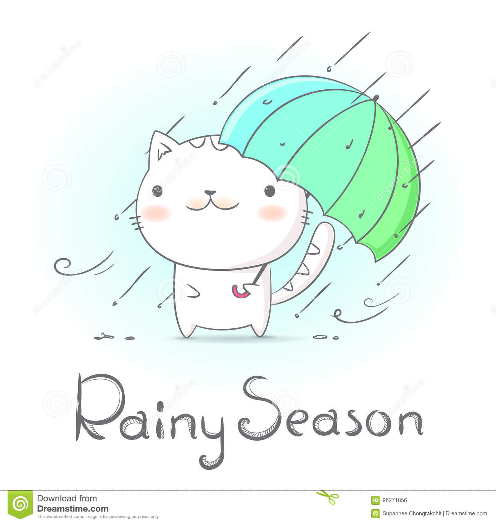 Cat Under Umbrella And Raining In Rainy Season Hand Draw Doodle
