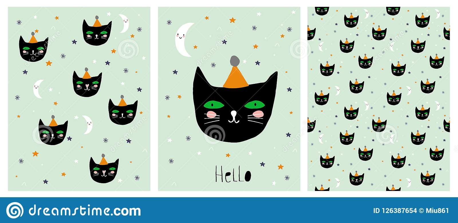 Cat Vector Illustration Set nera disegnata a mano divertente