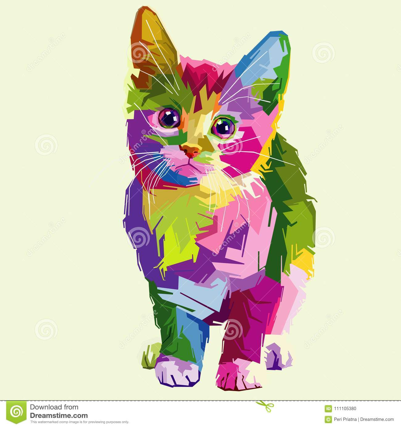 cat vector pop art fullcolor stock vector illustration of fulcolor