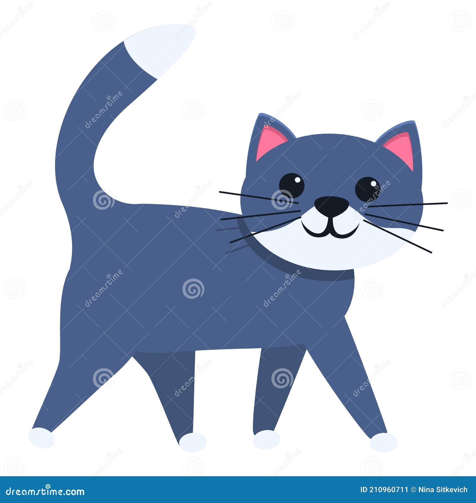 Cat Walking Icon Cartoon Style Stock Vector Illustration Of Kitten Clipart 210960711
