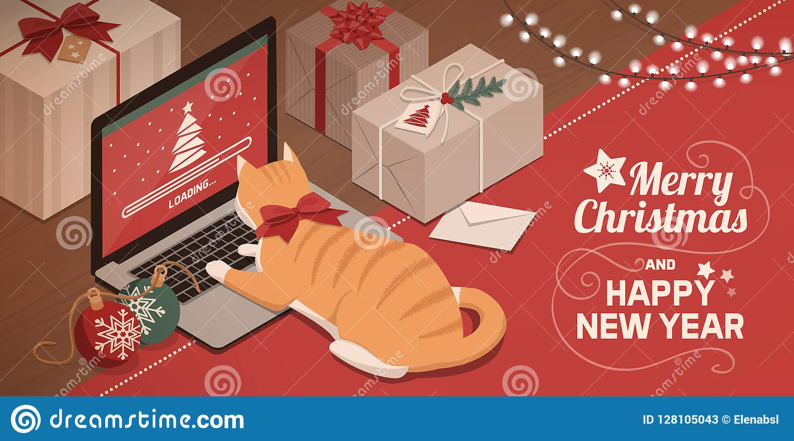 Cat Watching Christmas App Loading On The Laptop Stock ...