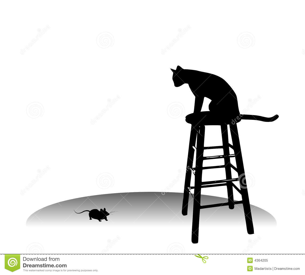 Cat Watching A Mouse On Stool Stock Illustration