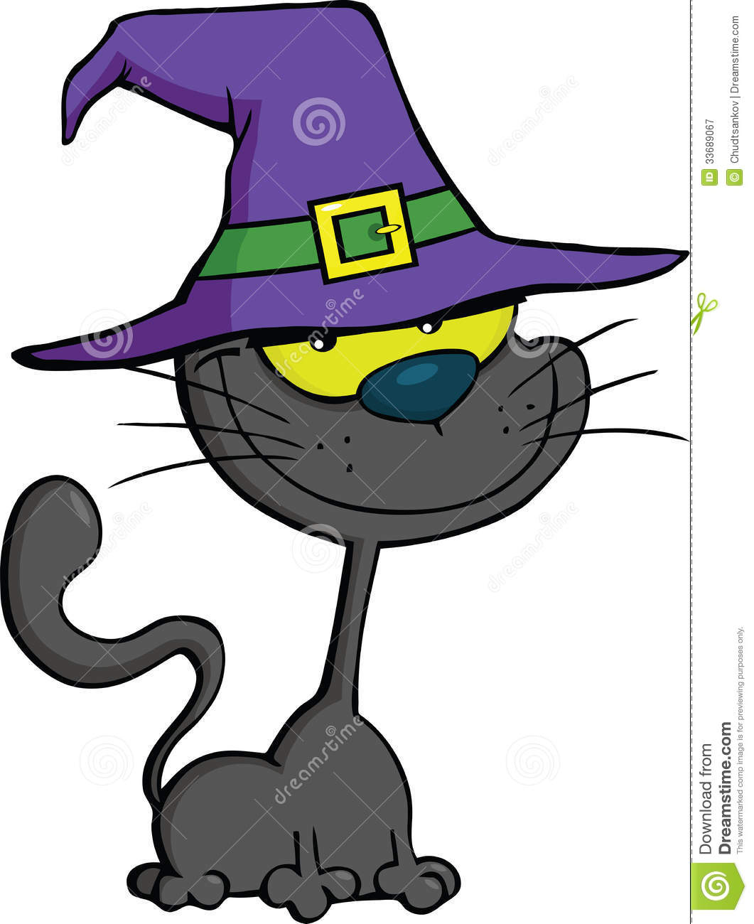 Cat With Witch Hat Cartoon Illustration Royalty Free Stock Photography ...